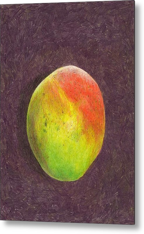 Mango Metal Print featuring the drawing Mango On Plum by Steve Asbell