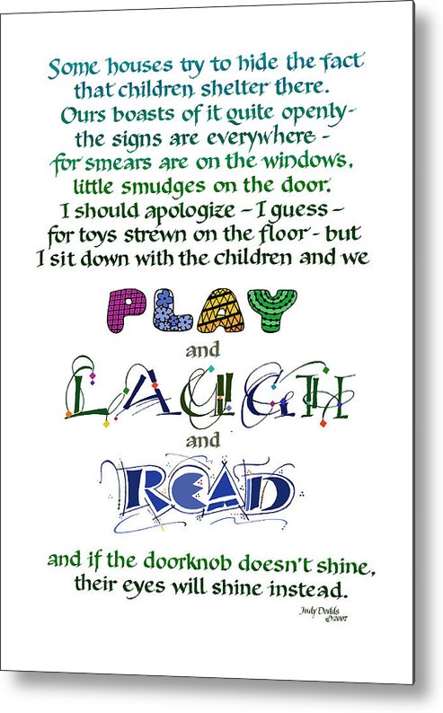 Mother's Day Metal Print featuring the painting Play Laugh Read by Judy Dodds