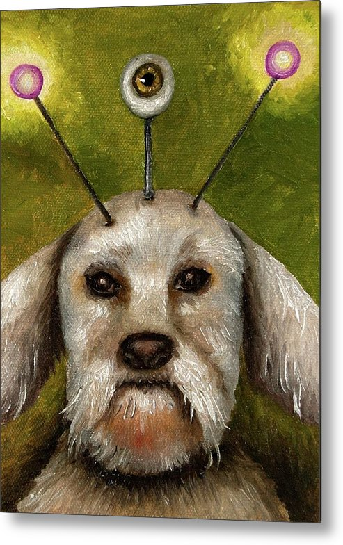 Dog Metal Print featuring the painting Alien Dog by Leah Saulnier The Painting Maniac