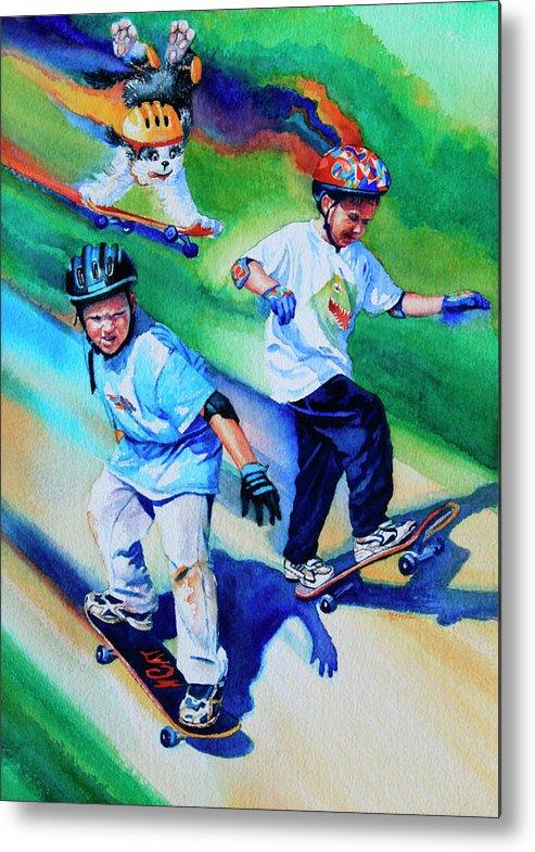 Skateboard Metal Print featuring the painting Blasting Boarders by Hanne Lore Koehler