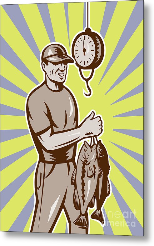 Largemouth Metal Print featuring the digital art Fly Fisherman Weighing In Fish Catch by Aloysius Patrimonio