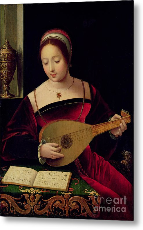 Mary Metal Print featuring the painting Mary Magdalene Playing The Lute by Master of the Female Half Lengths