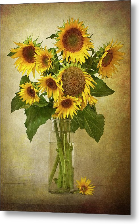 Vertical Metal Print featuring the photograph Sunflowers In Vase by © Leslie Nicole Photographic Art