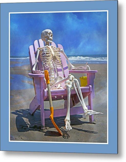 Skeleton Metal Print featuring the photograph Sam Enjoys The Beach -- Again by Betsy Knapp