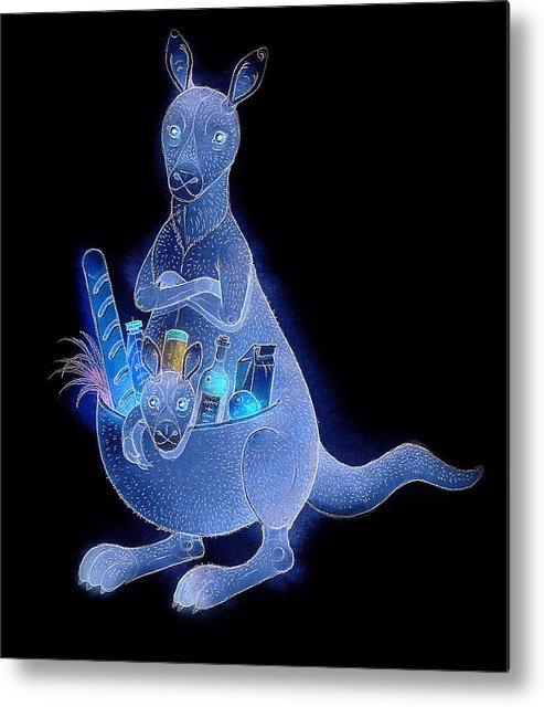 Kangaroo Animals Australia House Jumping Food Metal Print featuring the painting Kangaroo 02 by Kestutis Kasparavicius