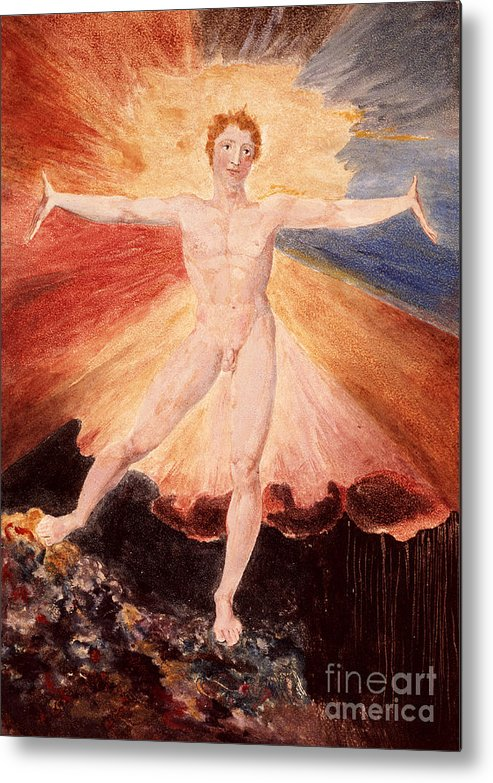 Literature Metal Print featuring the painting Glad Day Or The Dance Of Albion by William Blake