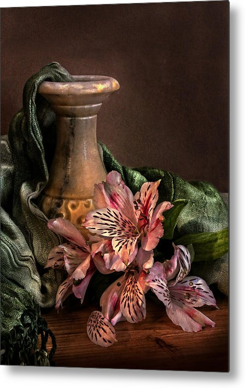 Marble Vase With Lilies Metal Print by Hugo Bussen