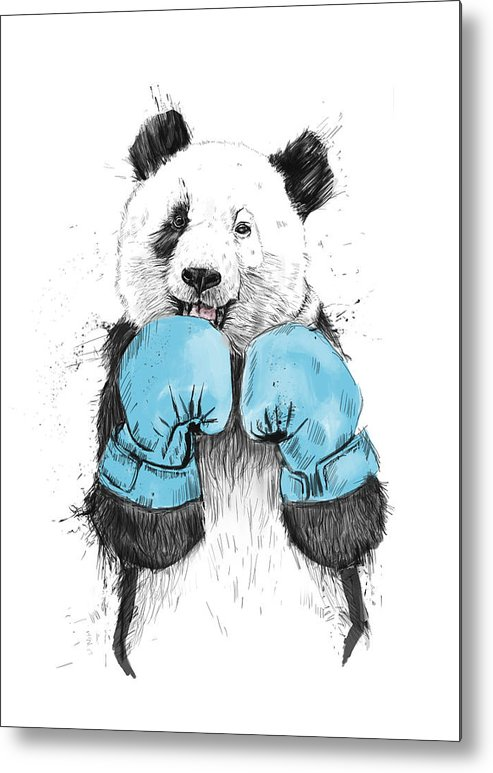Panda Metal Print featuring the drawing The Winner by Balazs Solti