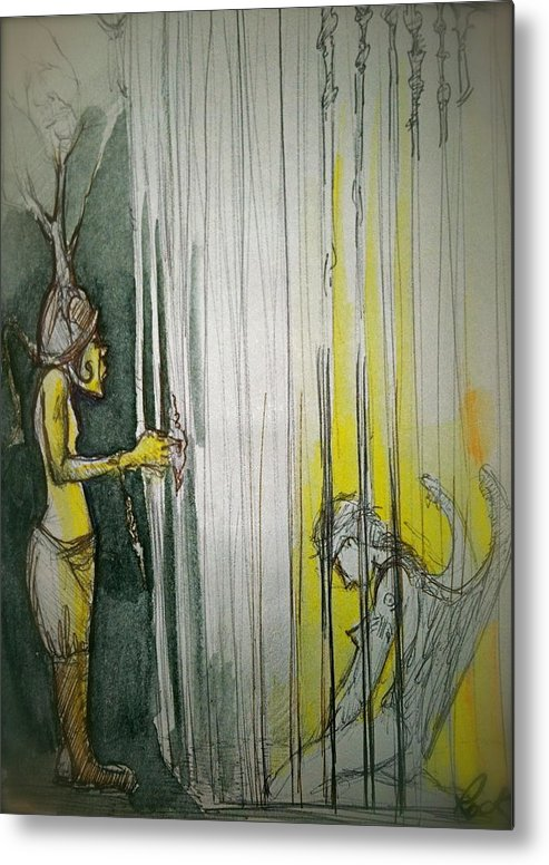 Angel Demon Cage Trapped Boots Caged Metal Print featuring the drawing Caged Creature Of God by Jackie Rock
