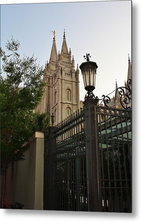 Architecture Metal Print featuring the photograph Temple Square Grounds by Bruce Bley