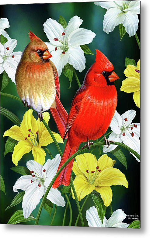 Cardinal Metal Print featuring the painting Cardinal Day 2 by JQ Licensing