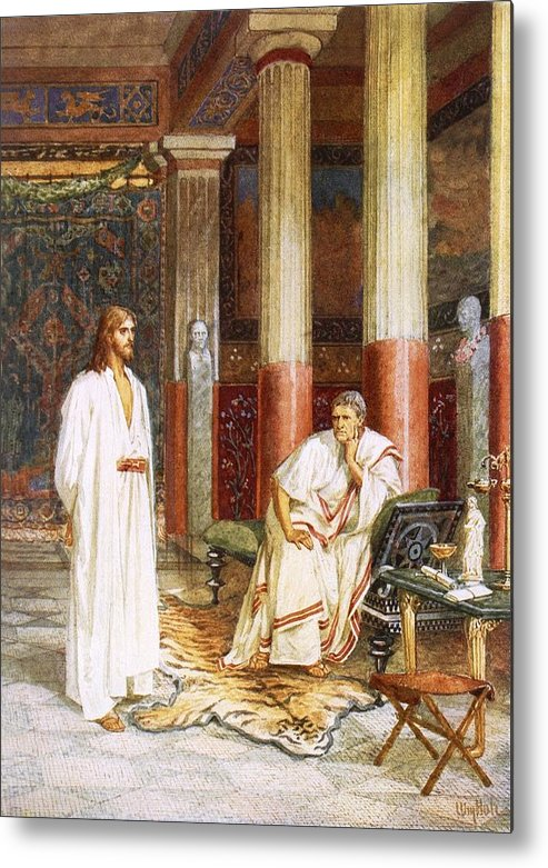 Bible; Jesus Christ; Pontius Pilate; Tiger Skin; Couch; Privately; Private Metal Print featuring the painting Jesus Being Interviewed Privately by William Brassey Hole