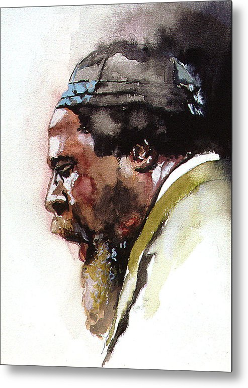 Watercolor Metal Print featuring the painting Monk by Bryan Dechter