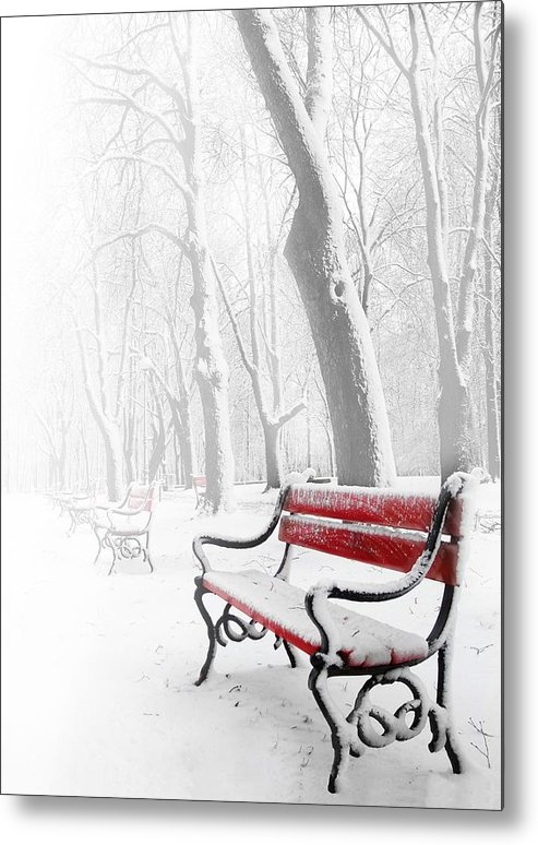 Beautiful Metal Print featuring the photograph Red Bench In The Snow by Jaroslaw Grudzinski