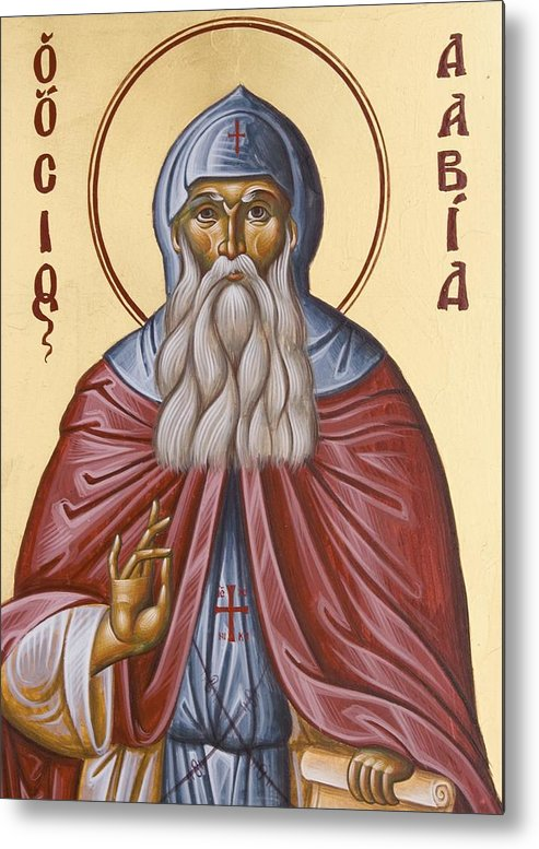 Icon Metal Print featuring the painting St David Of Evia by Julia Bridget Hayes