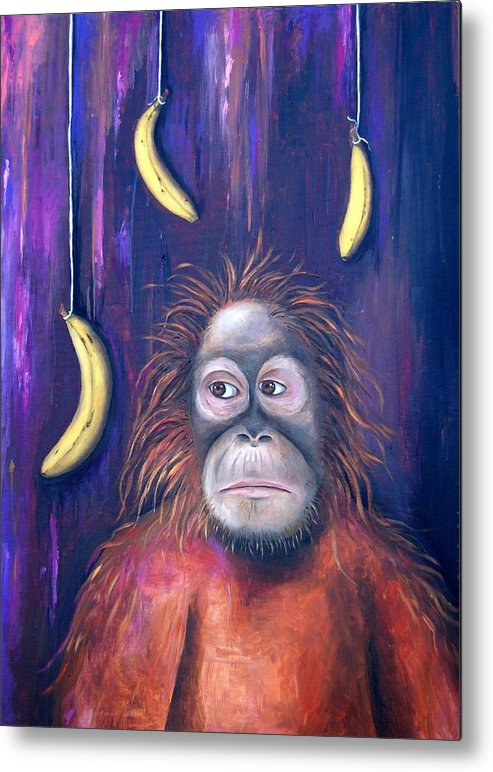 Bananas.ape Metal Print featuring the painting Temptation by Leah Saulnier The Painting Maniac