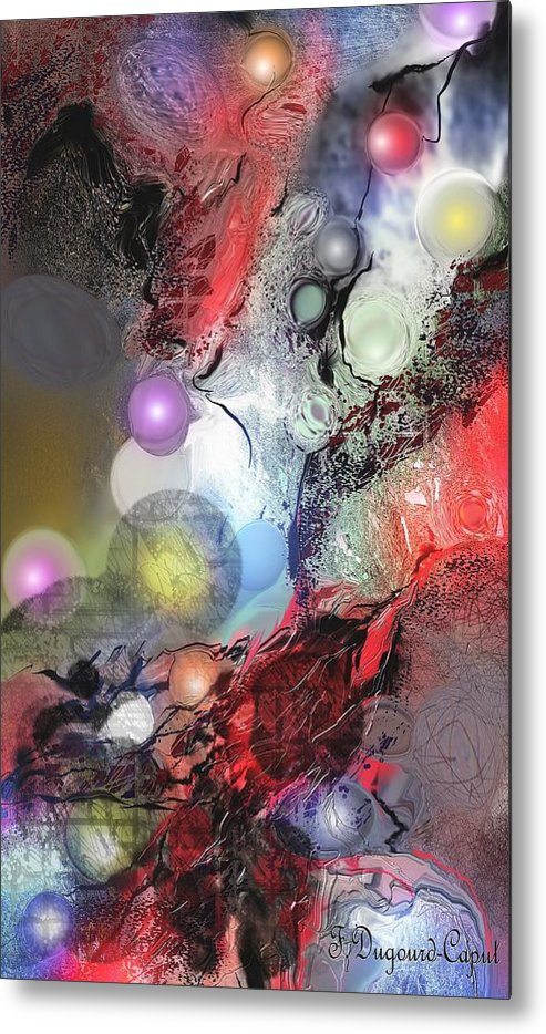 Abstract Metal Print featuring the painting Sci-fi by Francoise Dugourd-Caput