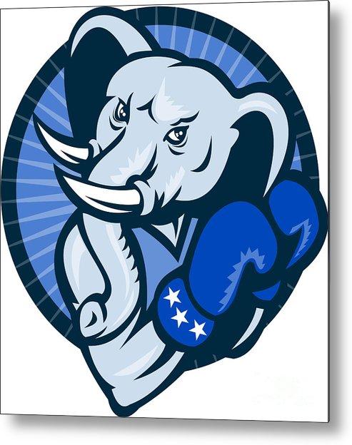 Elephant Metal Print featuring the digital art Elephant With Boxing Gloves Democrat Mascot by Aloysius Patrimonio