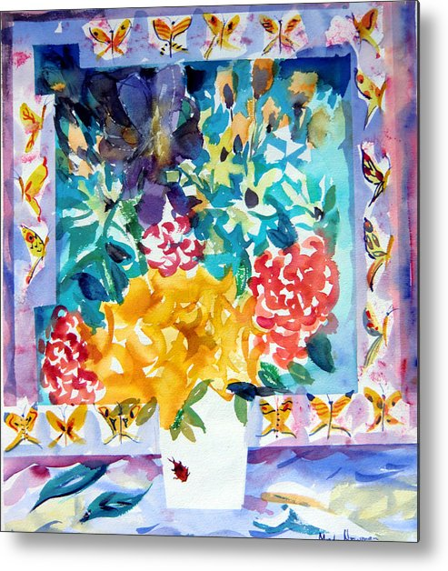 Roses Framed Prints Metal Print featuring the painting Butterfly Bouquet by Mindy Newman