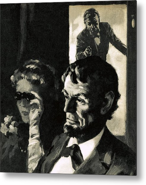 Abraham Lincoln Metal Print featuring the painting The Assassination Of Abraham Lincoln by English School
