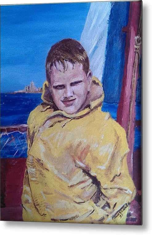 Boat Metal Print featuring the painting A Boy On A Boat by Jack Skinner