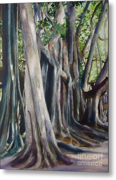 Trunks Metal Print featuring the painting Banyan Trees by Karol Wyckoff