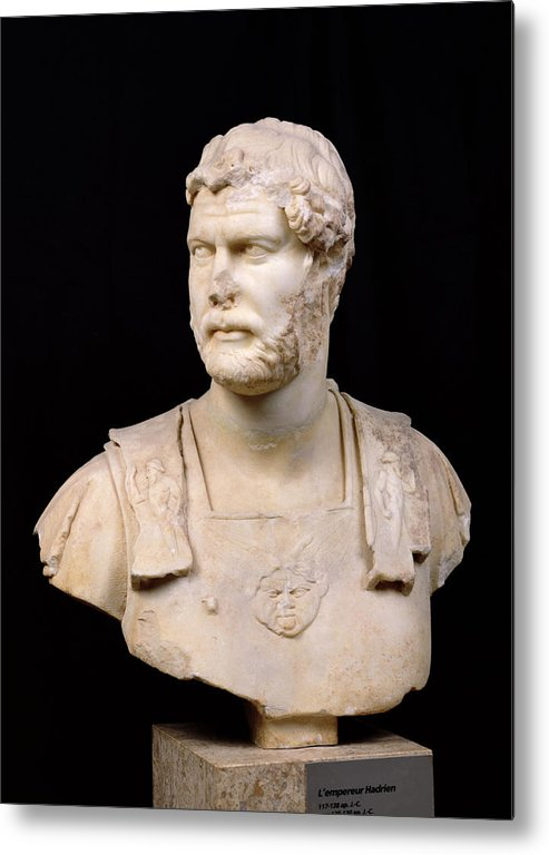Buste De L'empereur Hadrien Metal Print featuring the sculpture Bust Of Emperor Hadrian by Anonymous