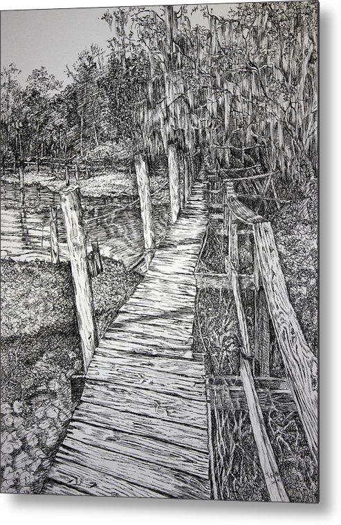Florida Landscape Metal Print featuring the drawing Days Gone By by Janet Felts