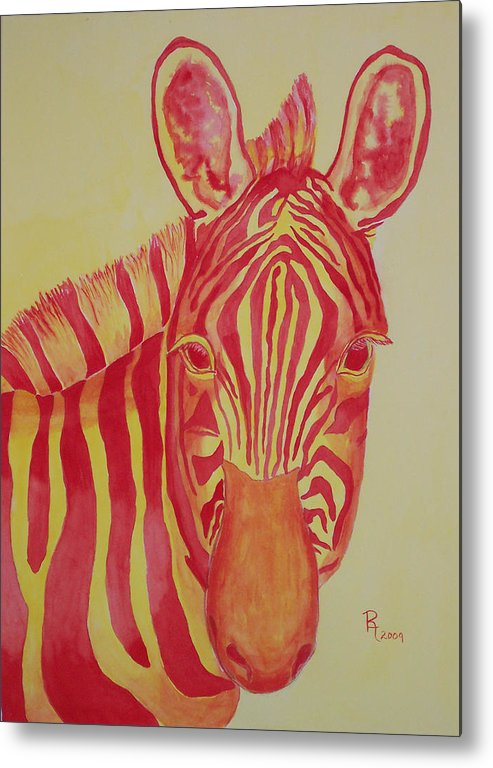 Zebra Metal Print featuring the painting Flame by Rhonda Leonard