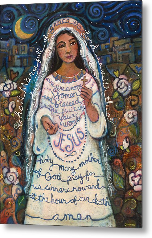 Jen Norton Metal Print featuring the painting Hail Mary by Jen Norton