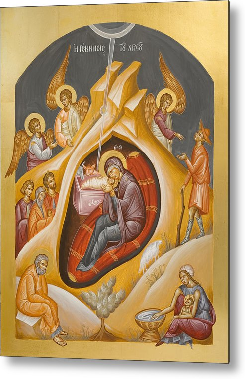 Nativity Metal Print featuring the painting Nativity Of Christ by Julia Bridget Hayes