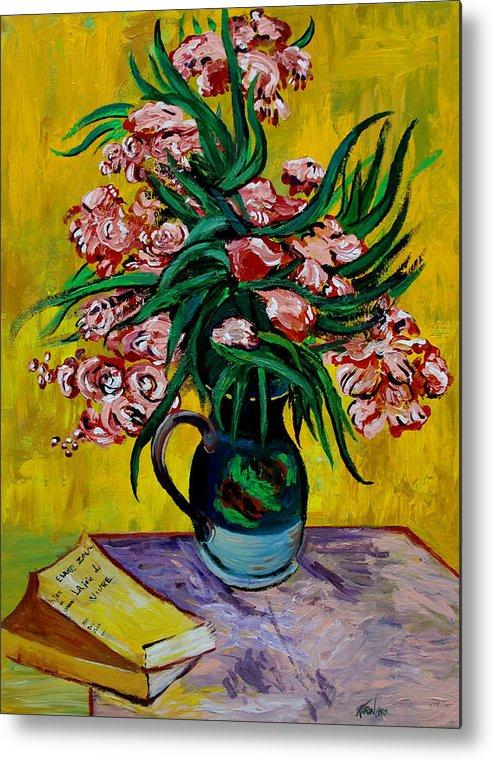 Oleander Metal Print featuring the painting Oleanders by Karon Melillo DeVega