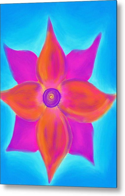 Spiral Metal Print featuring the painting Spiral Flower by Daina White