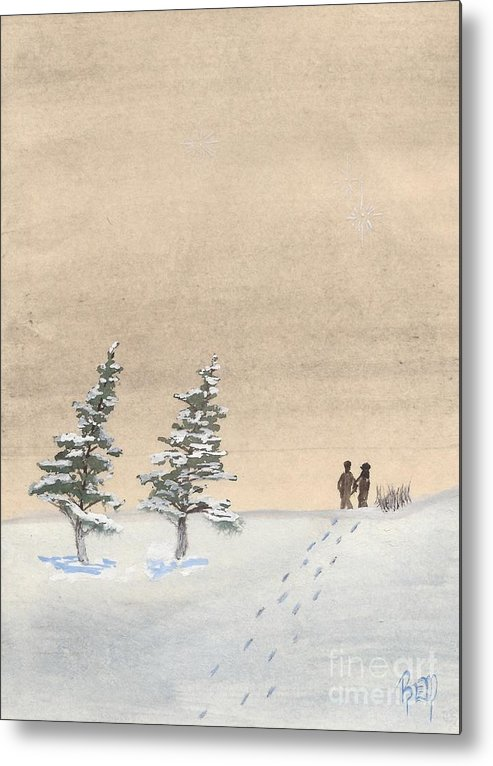 Watercolor Metal Print featuring the painting Walking Together by Robert Meszaros
