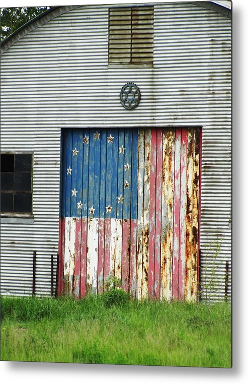 Rustic Buildings With Flag Metal Print featuring the photograph Flag Day 1951 by Todd Sherlock