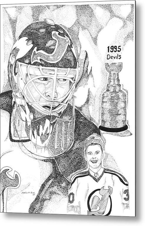 This Image Of Martin Brodeur Of The New Jersey Devils Took Over 12 Hours To Complete And Has Over 100 Metal Print featuring the drawing Martin Brodeur Sports Portrait by Marty Rice