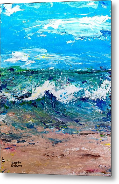 Moody Beach Metal Print featuring the painting Moody Beach In A Mood by Scott Nelson