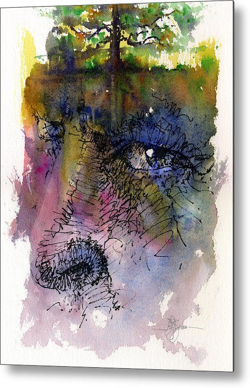 Tree Metal Print featuring the painting Face With Tree by John D Benson