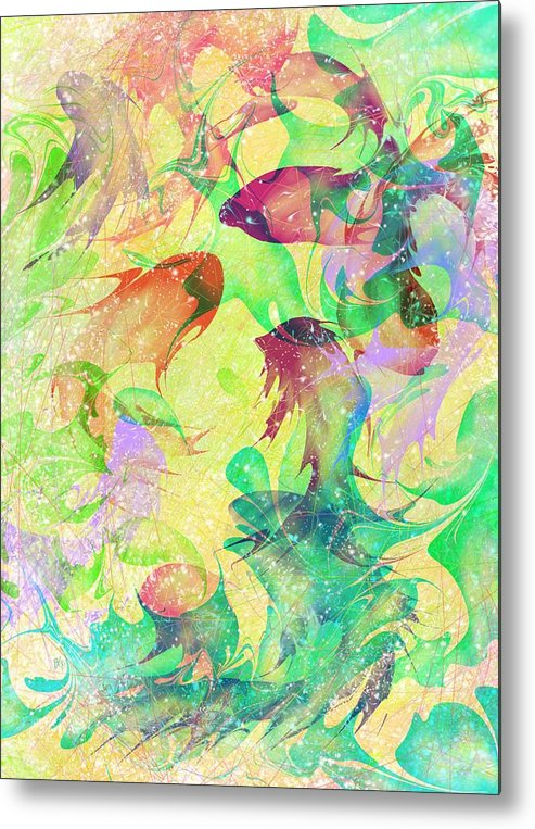 Abstract Metal Print featuring the digital art Fish Dreams by Rachel Christine Nowicki