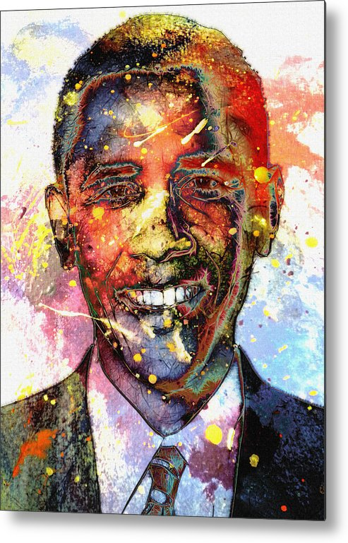 President Barack Obama Color Colored World Painting Usa Us 44th United States Metal Print featuring the painting For A Colored World by Stefan Kuhn