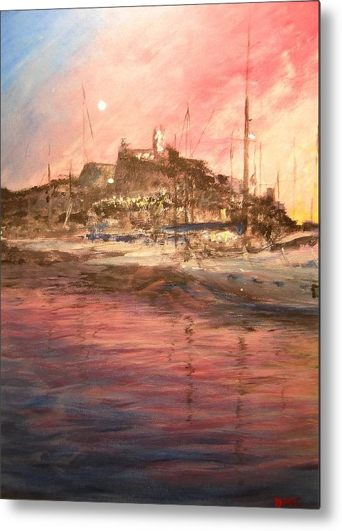 Yachts Metal Print featuring the painting Ibiza Old Town At Sunset by Lizzy Forrester