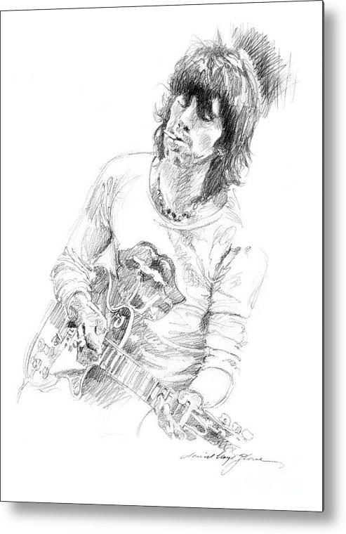 Keith Richards Metal Print featuring the drawing Keith Richards Exile by David Lloyd Glover