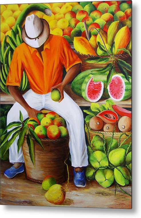 Caribbean Metal Print featuring the painting Manuel The Caribbean Fruit Vendor by Dominica Alcantara