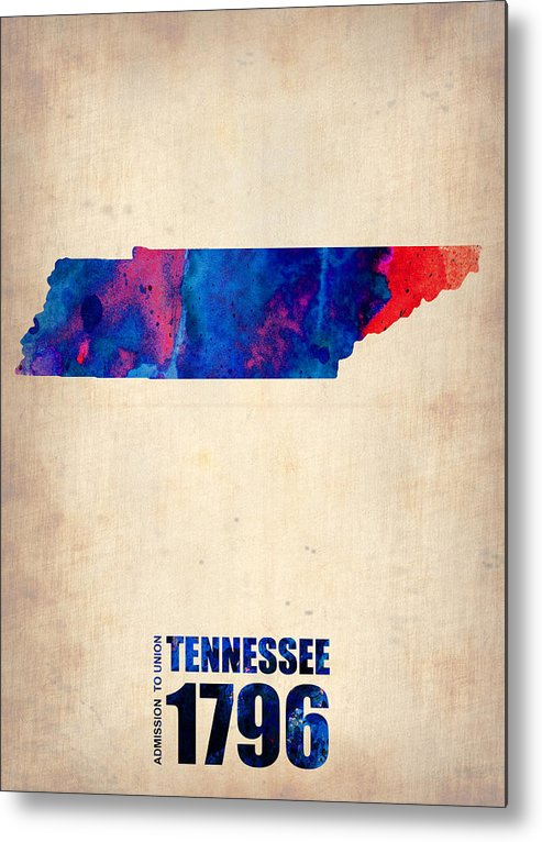 Tennessee Metal Print featuring the digital art Tennessee Watercolor Map by Naxart Studio
