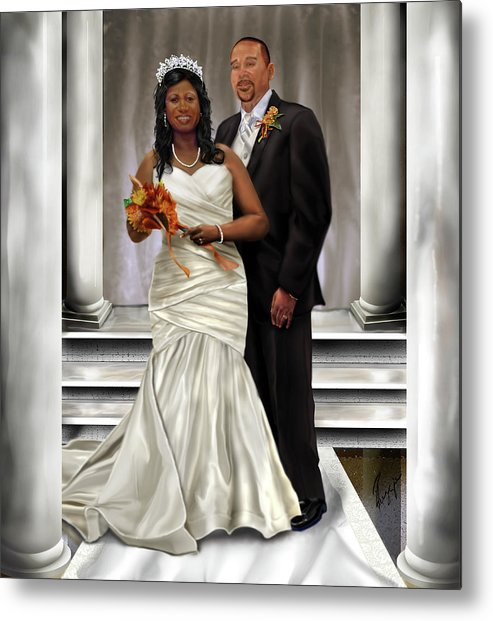 Wedding Metal Print featuring the painting Commissioned Wedding Portrait by Reggie Duffie