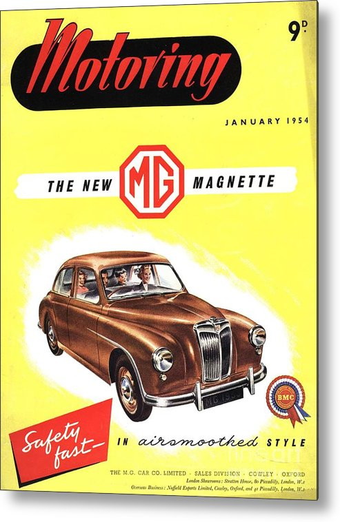 1950�s Metal Print featuring the drawing 1950s Uk Cars Mg Magnette Covers by The Advertising Archives