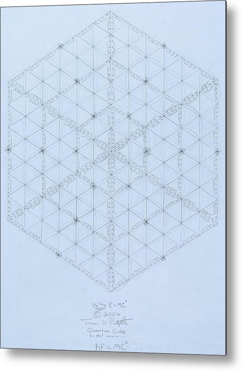 Energy Metal Print featuring the drawing Why Energy Equals Mass Times The Speed Of Light Squared by Jason Padgett