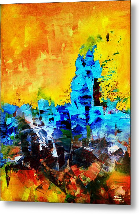 Metal Print featuring the painting Abstract by Deeb Marabeh