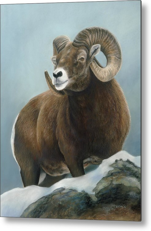 Big Horn Sheep Metal Print featuring the pastel A Glimpse From The Edge by Karen Cade