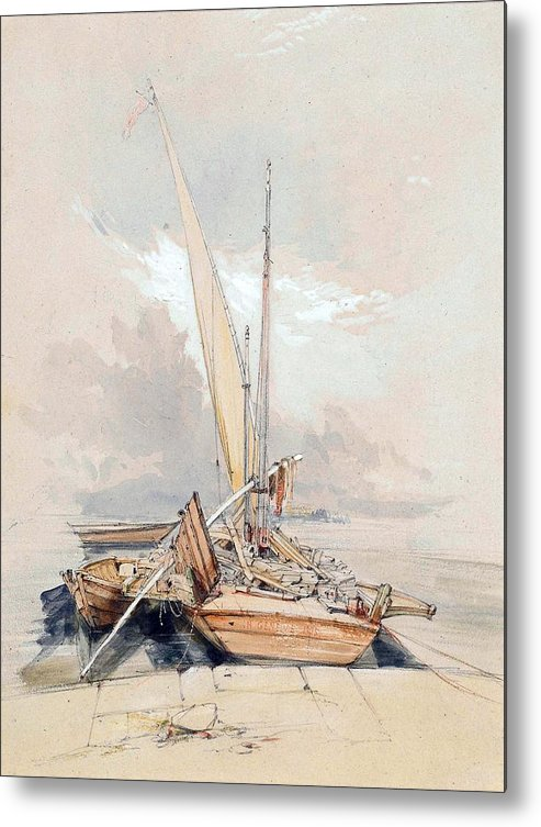 Boats Metal Print featuring the painting Boats At Quayside Lake Geneva by James Holland